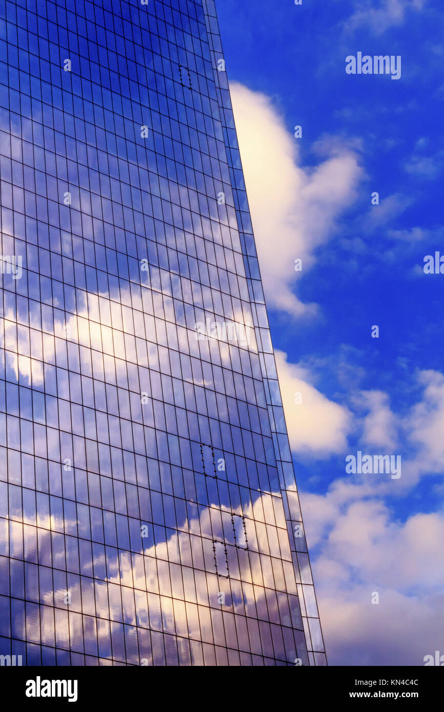 New World Trade Center Glass Building Abstract Skyscraper Blue Clouds Reflection New York City NY. - Stock Image