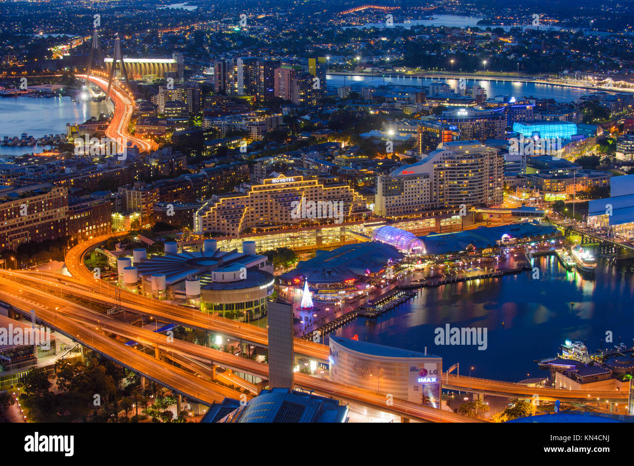 Darling Harbour at Night from Above, Sydney, New South Wales (NSW), Australia - Stock Image