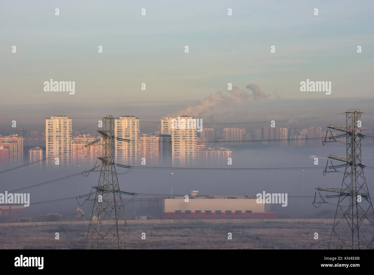 Air pollution in Moscow smog above the houses. - Stock Image