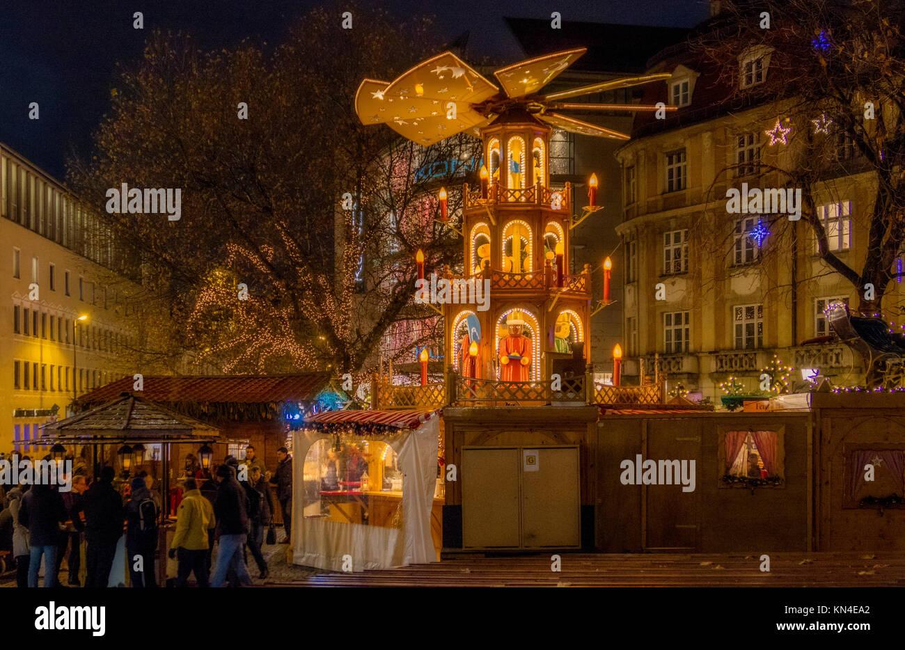 Christmas In Munich Germany.Christmas Market At Rindermarkt In Munich Bavaria Germany