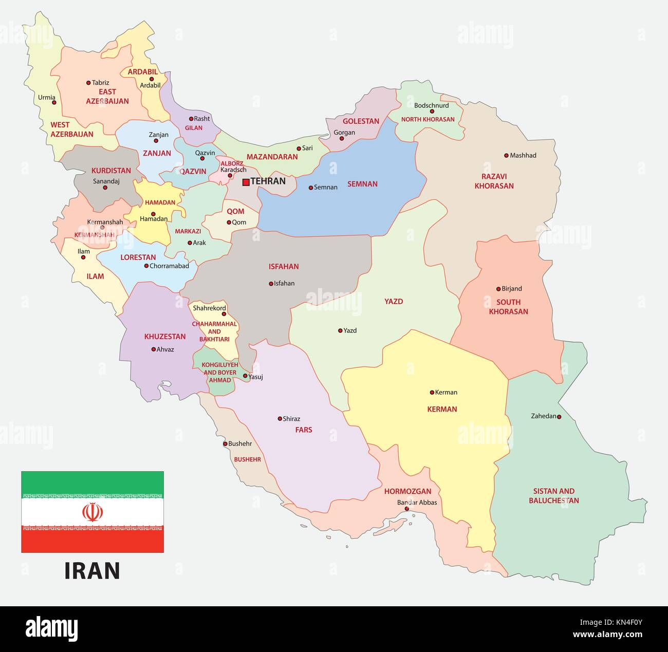 Iran Administrative And Political Vector Map With Flag Stock Vector Image Art Alamy