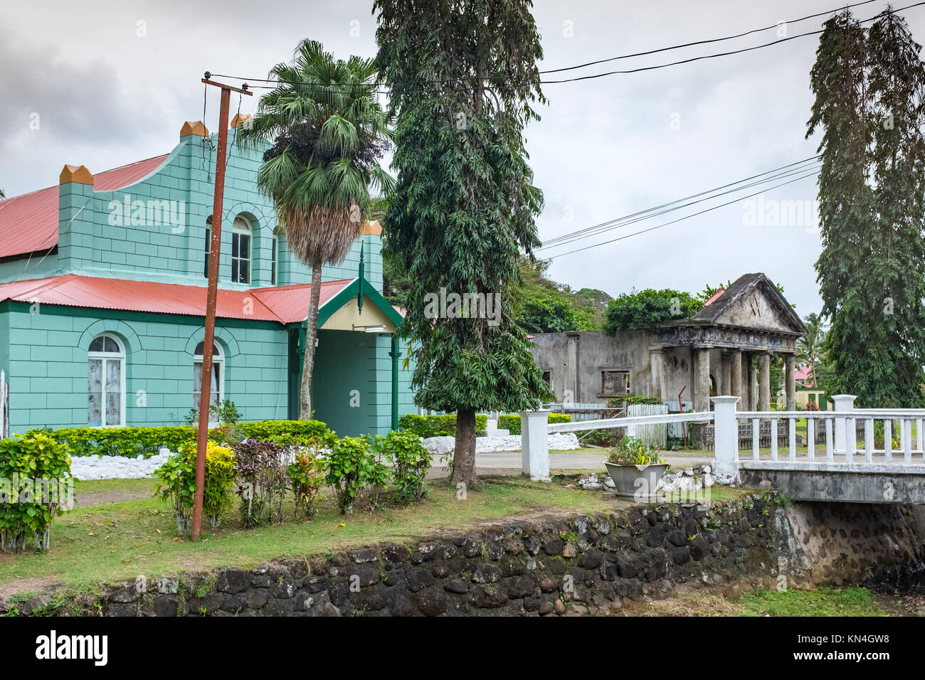 Town Council and Masonic Lodge(ruins), Levuka, Ovalau, Fiji Islands, Western Pacific, South Pacific, World Heritage - Stock Image