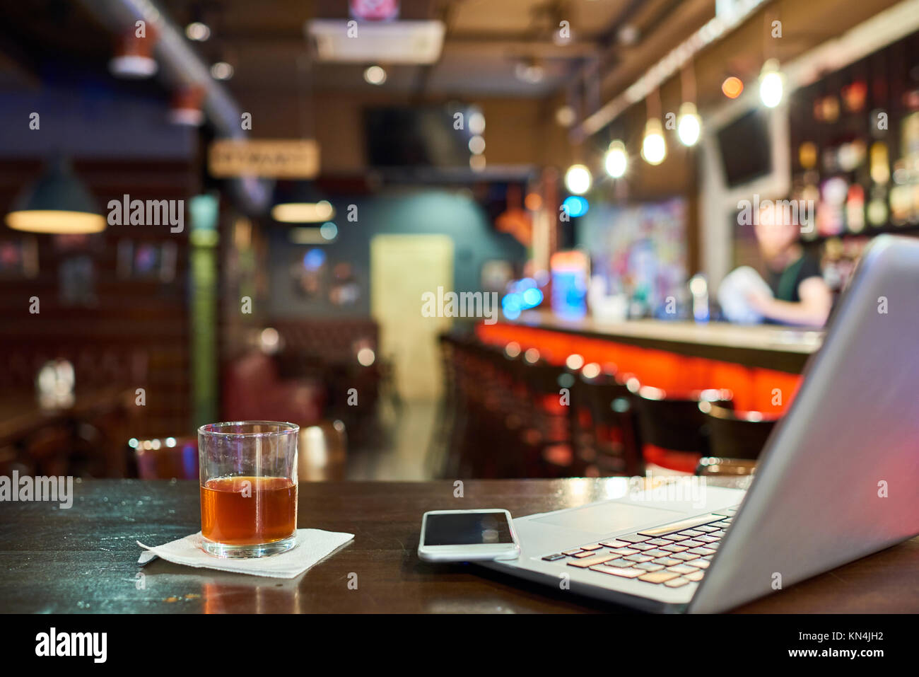 Workplace in Pub - Stock Image