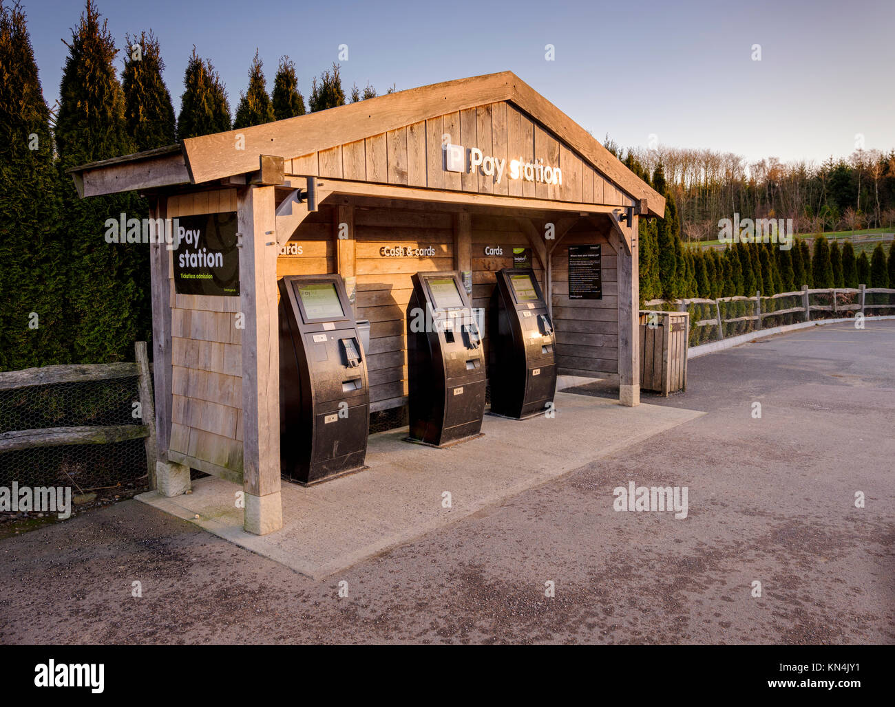 The parking pay station machines at the Bedgebury National Pinetum and Forest in on the Sussex, Kent border. - Stock Image