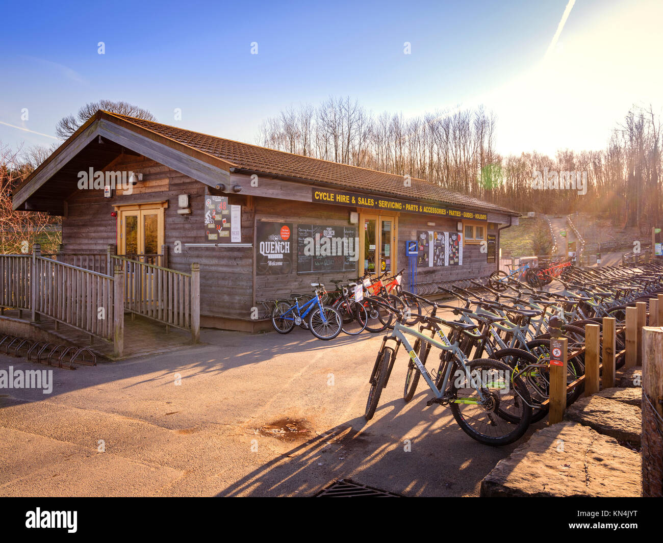 Quench cycle hire shop at Bedgebury National Pinetum and Forest in on the Sussex, Kent border. - Stock Image