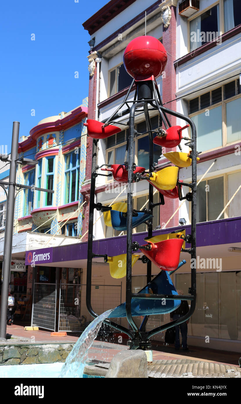 The Bucket Fountain in Cuba Street, Wellington New Zealand is a kinetic sculpture with buckets tipping when full - Stock Image