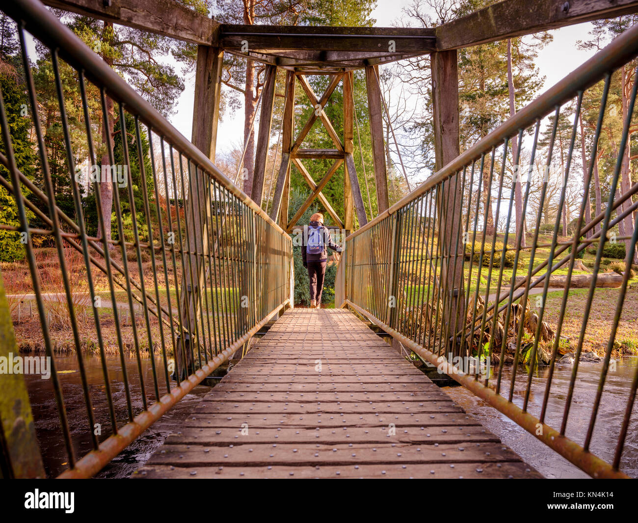 The bridge over Marshall's Lake at Bedgebury National Pinetum and Forest in on the Sussex, Kent border. - Stock Image