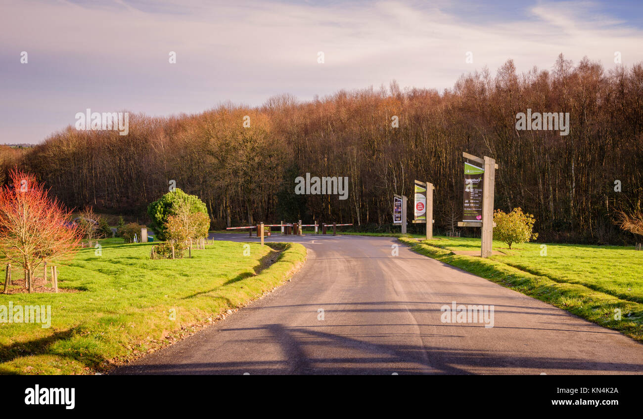 The entrance to the Bedgebury National Pinetum and Forest in on the Sussex, Kent border. - Stock Image
