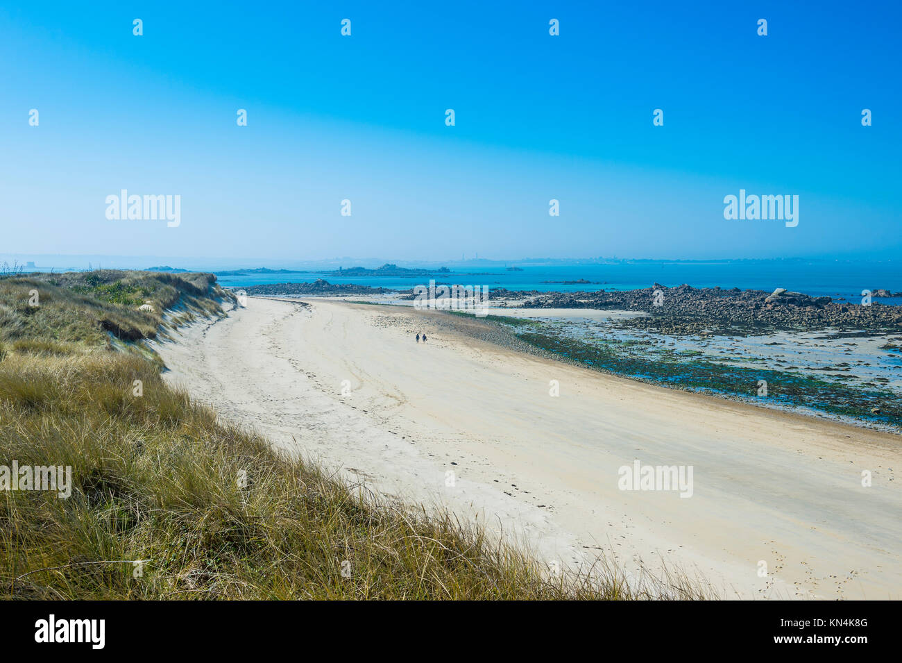 Overlook over a sand beach at the north coast of Herm, Guernsey, Channel Islands, United Kingdom - Stock Image