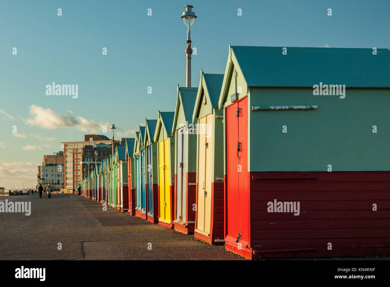 Brighton beach huts on a winter afternoon, East Sussex, England. Stock Photo