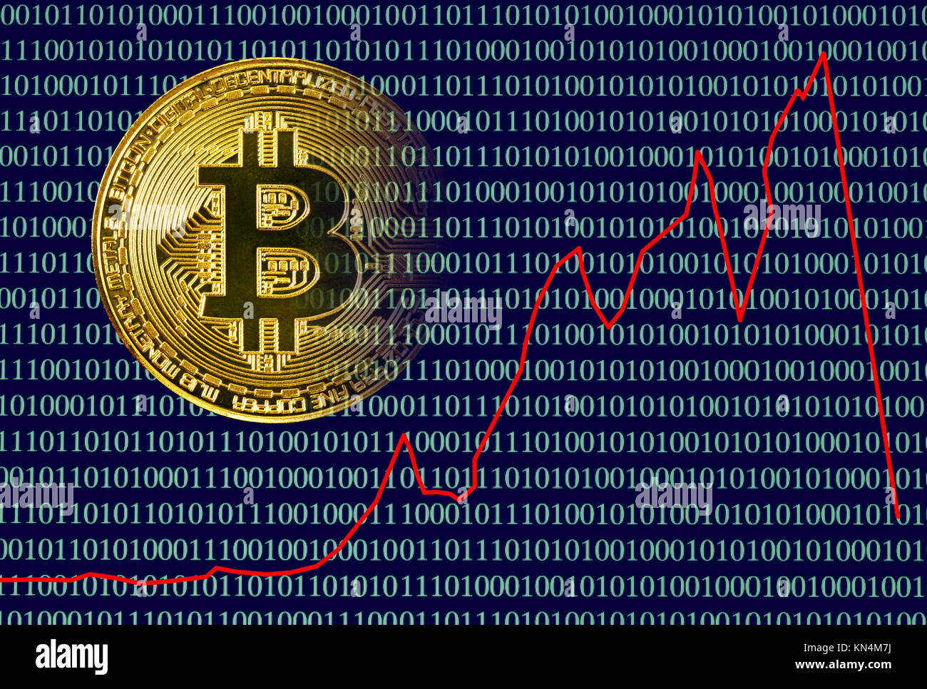 Symbolic Image Crash Digital Currency, Golden Physical Coin Bitcoin with Digital Binary Code - Stock Image