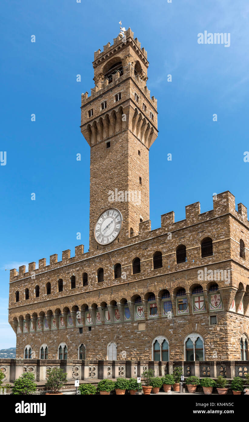 The Palazzo Vecchio from the roof terrace of the Uffizi Gallery, Florence, Italy. Stock Photo