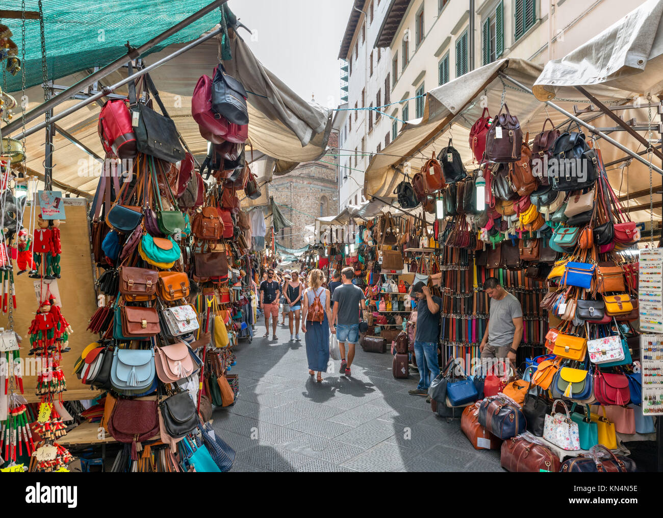 Via dell'Ariento in San Lorenzo Market area (Mercato di San Lorenzo), Florence, Italy. Stock Photo