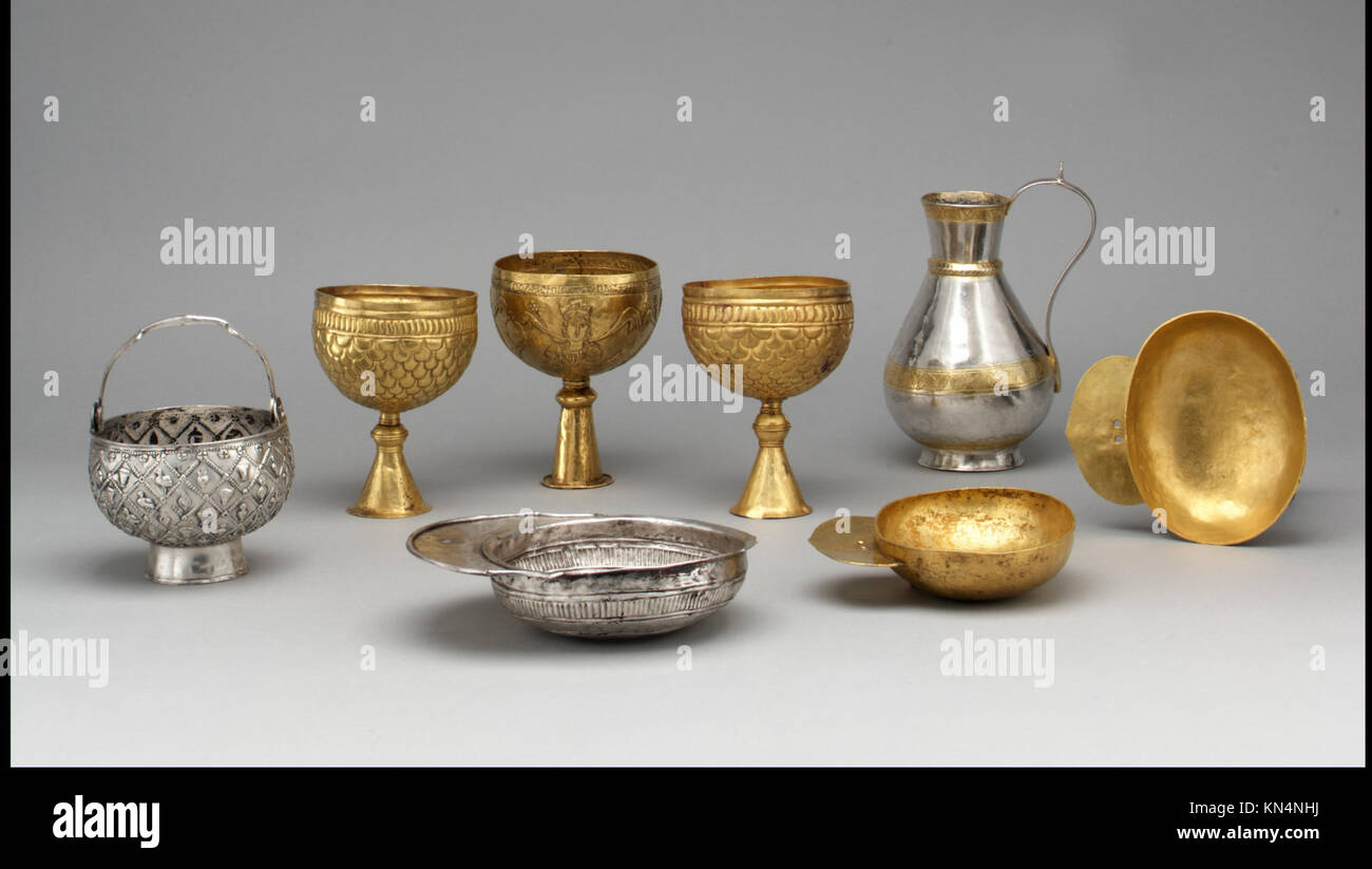 Ewer of Zenobius MET dp30672 464119 Avar or Byzantine, Gold Goblet with Personifications of Cyprus, Rome, Constantinople, - Stock Image
