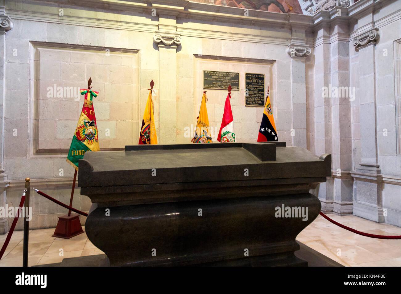 The tomb of Antonio José de Sucre, former president of both Venezuela and Peru; in Quito Cathedral, Quito Ecuador - Stock Image