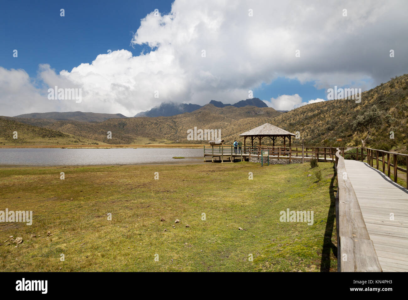 Tourists at a lookout, Lake Limpiopungo, Cotopaxi National Park, Ecuador, South America - Stock Image