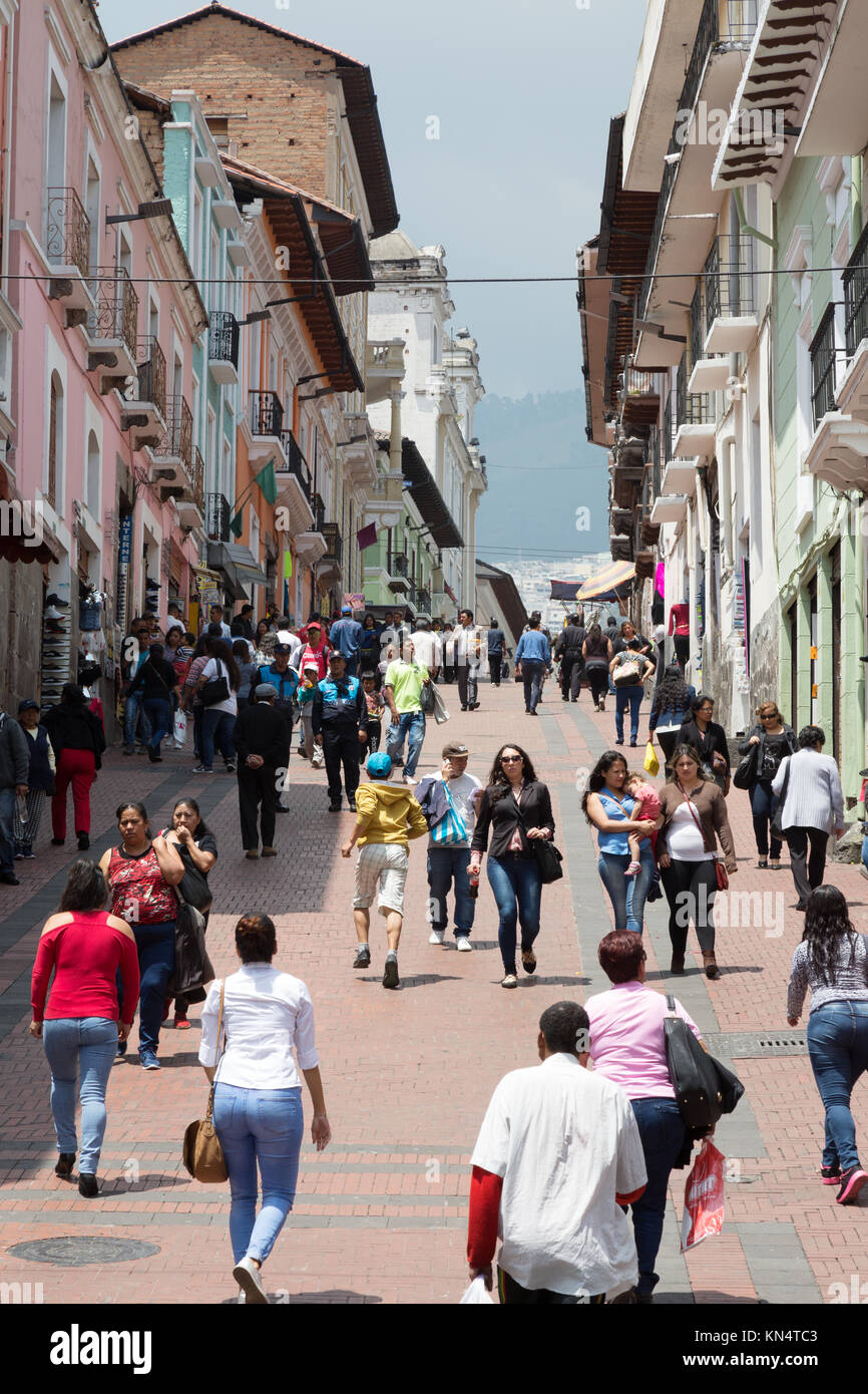 Ecuadorian people in the streets of the capital city, Quito, Ecuador, South America - Stock Image