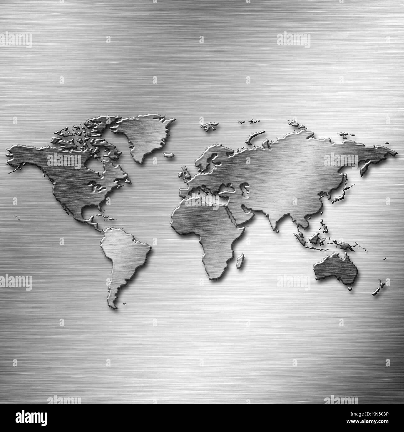 Steel Earth map over old aluminium desk as industrial backgrounds. - Stock Image
