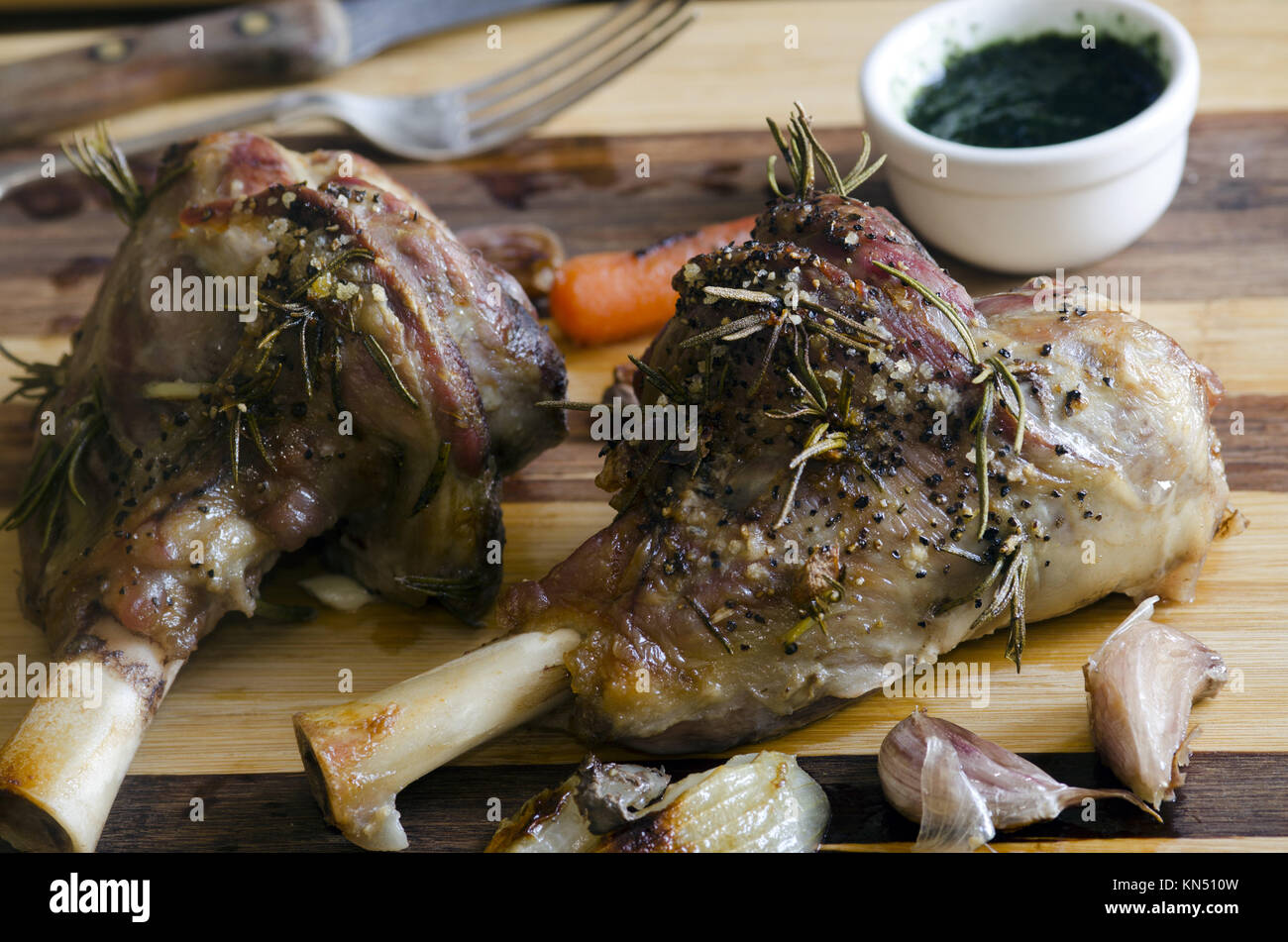 Roast leg of lamb with rosemary and garlic. - Stock Image