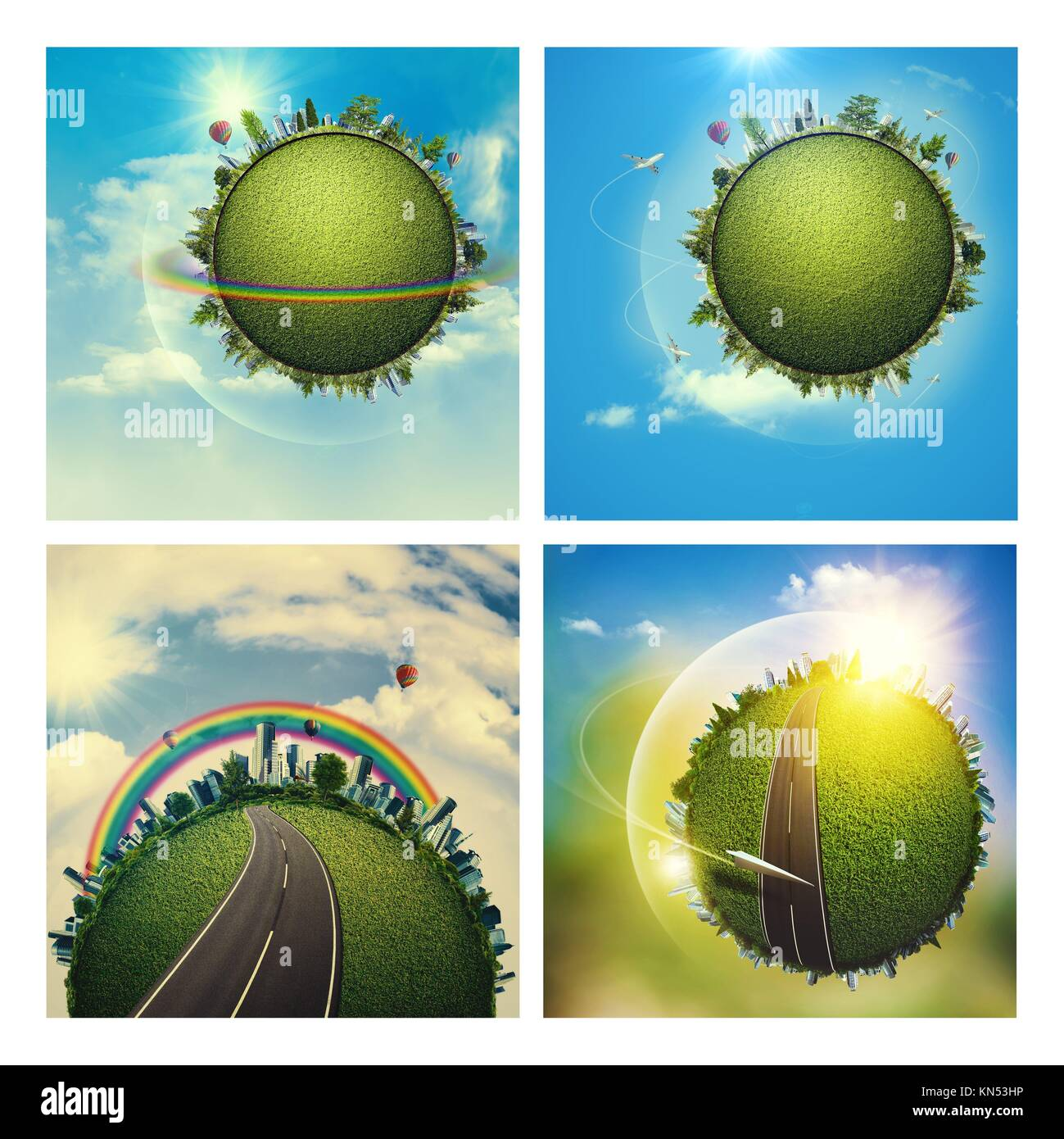 Abstract environmental backgrounds set with Earth globe - Stock Image