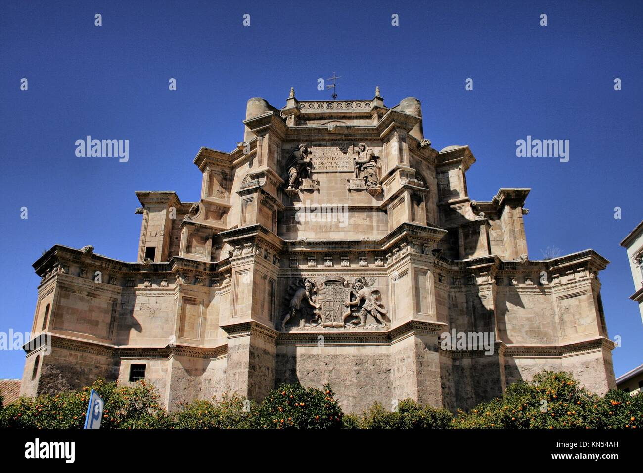 Detail of Monastery and Church of Saint Jerome among orange trees in Granada, Spain. - Stock Image