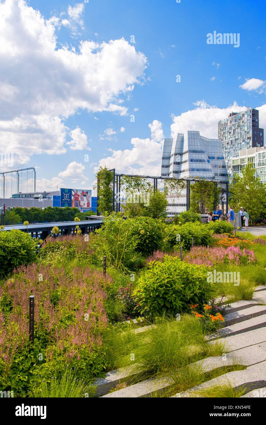 High Line Park in NYC. The High Line is a public park built on an historic freight rail line elevated above the Stock Photo