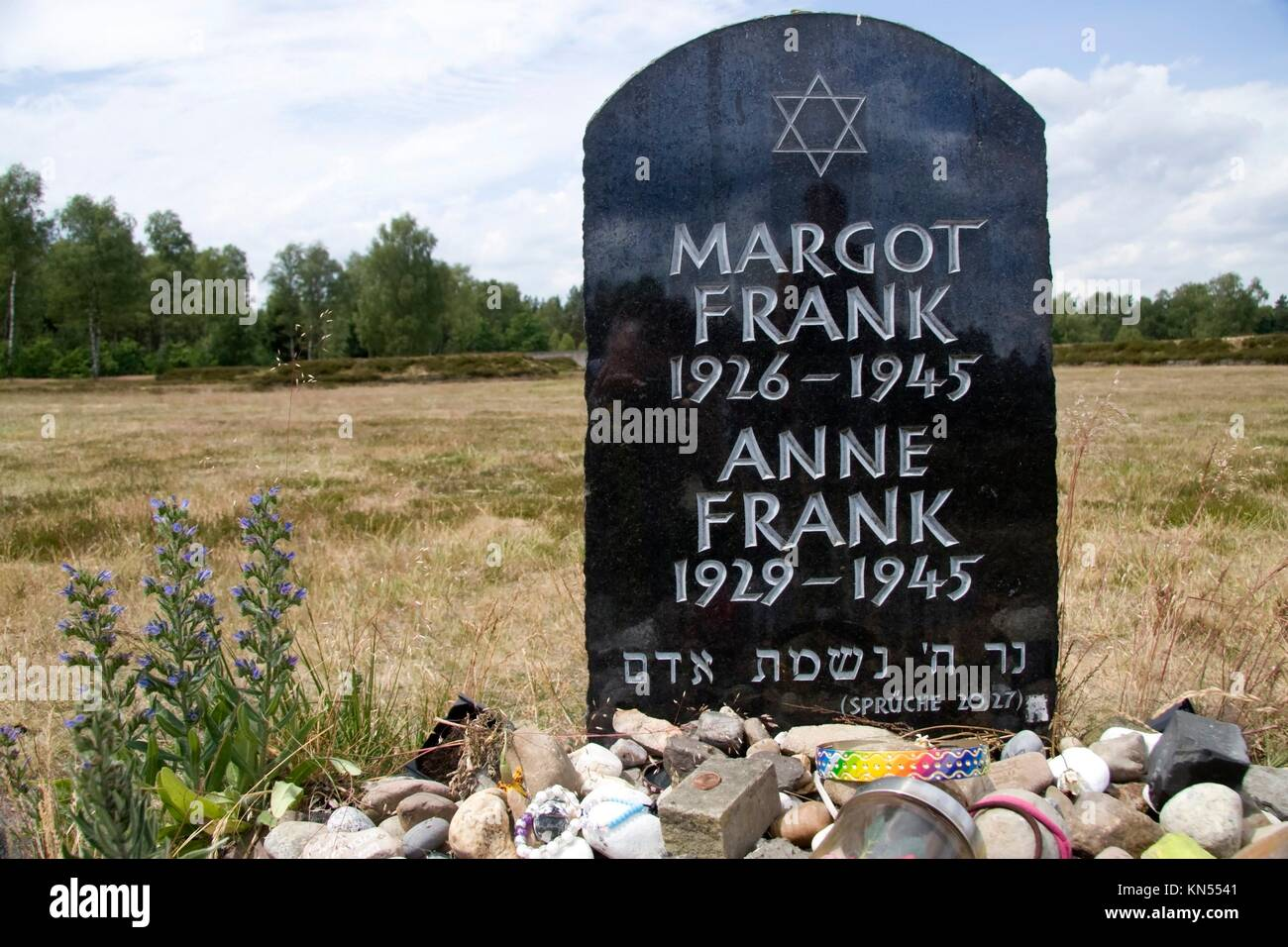 Lohheide, monument to Margot and Anne Frank on the Memorial Bergen-Belsen, Germany. - Stock Image