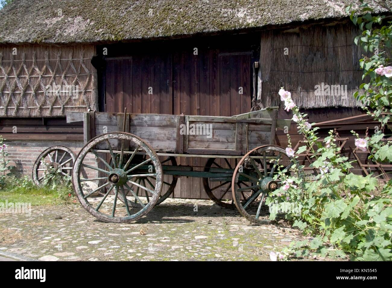 Farmers trolley stands for a farm in Gees, The Netherlands. - Stock Image