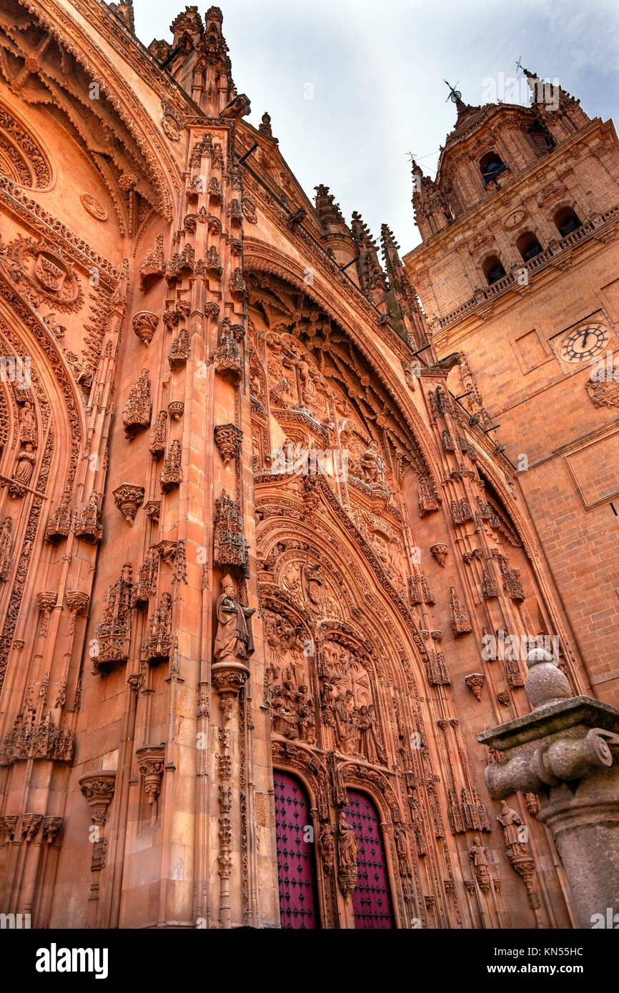 Stone Tower Door Facade New Salamanca Cathedral Spain. The New and Old Cathedrals in Salamanca are right next to - Stock Image