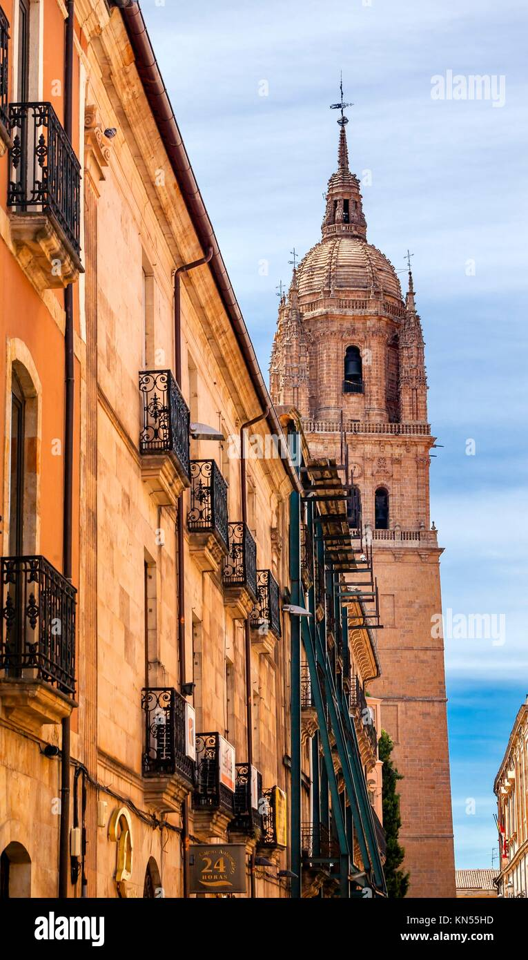 Stone Tower New Salamanca Cathedral City Street Salamanca Castile Spain. The New and Old Cathedrals in Salamanca - Stock Image