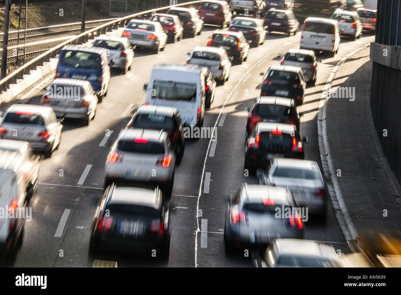 cars in a congestion on highway. - Stock Image
