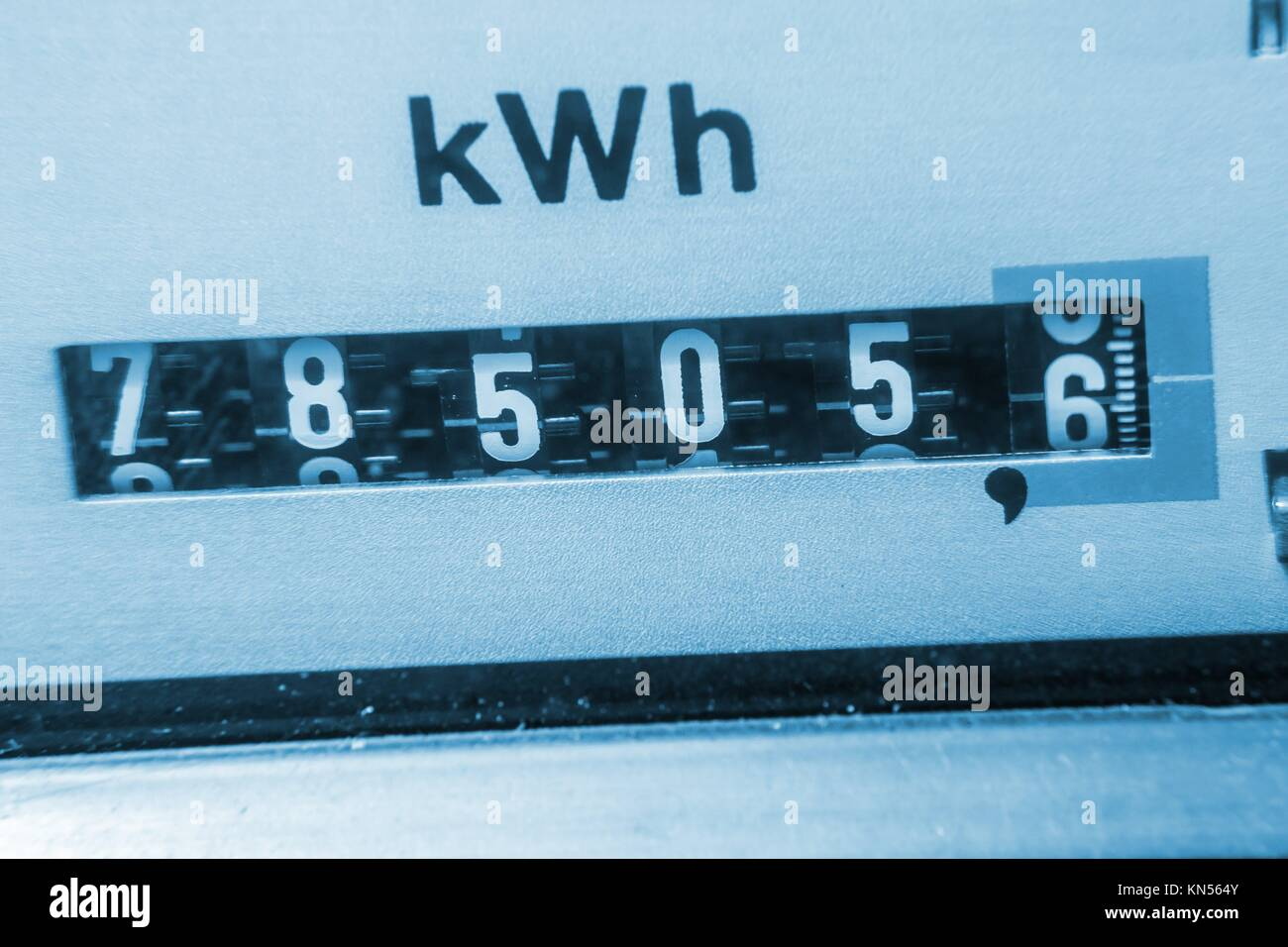 electricity meter background (kwh). - Stock Image