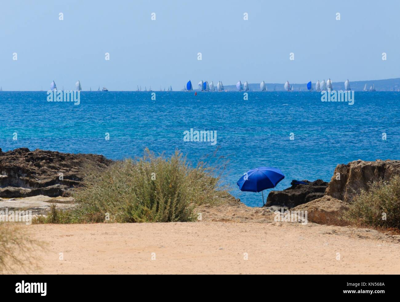 Blue parasol and the Copa del Rey regatta with blue sails in Palma Bay, Majorca, Spain. - Stock Image