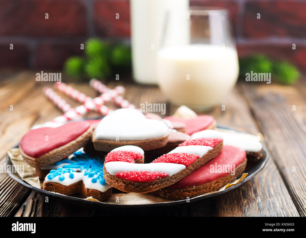 color christmas cookies ginger cookies stock photo