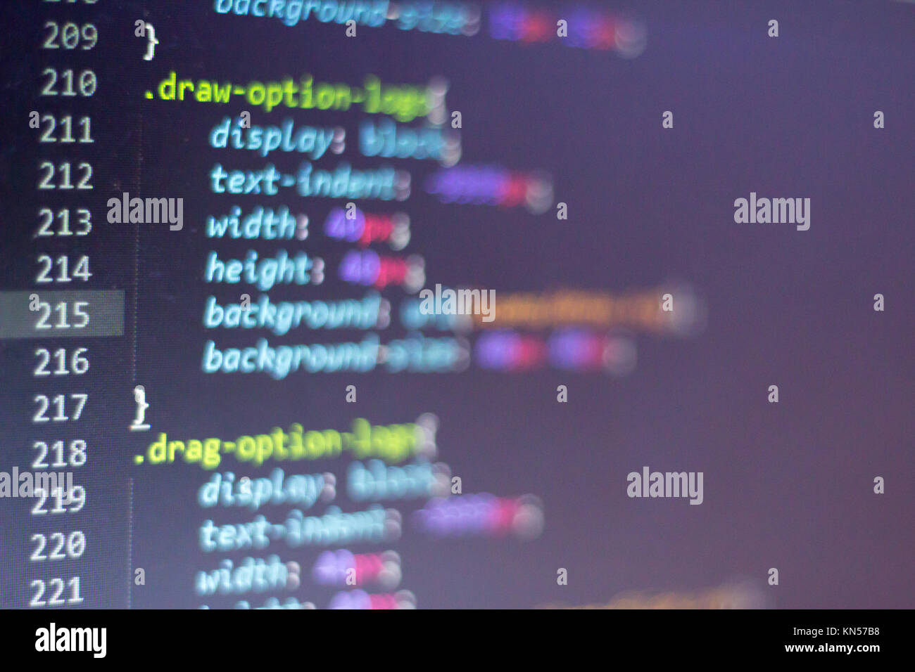 CSS style code. Computer programming source code. Abstract screen of web developer. Digital technology modern background. - Stock Image