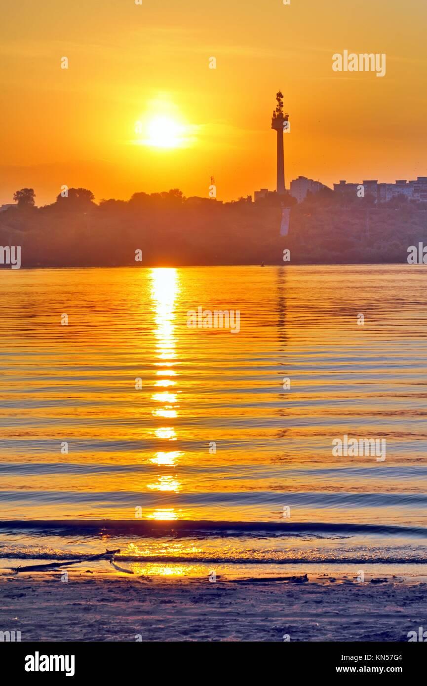 Sunset Over Danube River In Galati Romania