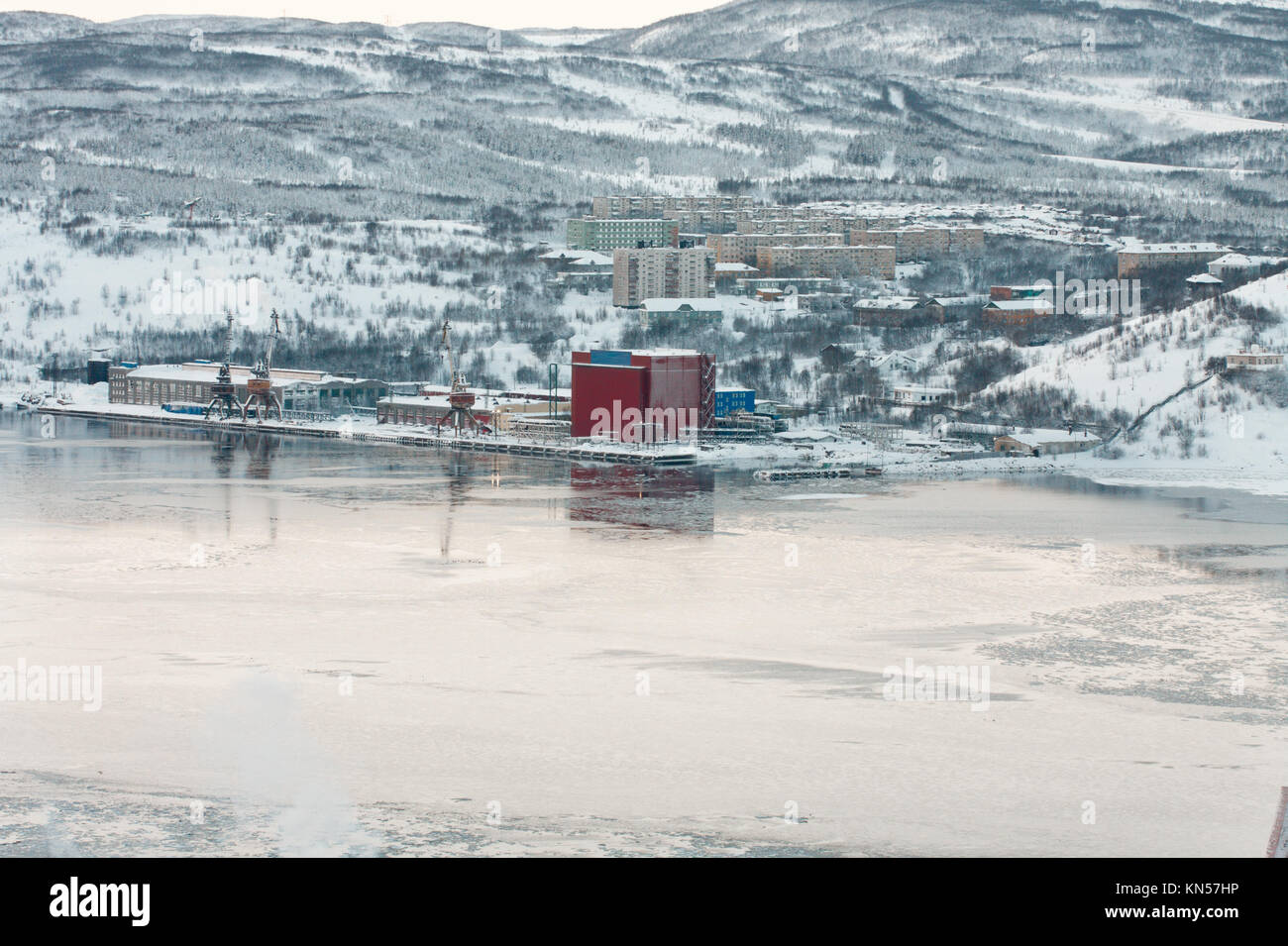 Isolated neighborhood of Murmansk Abram-Mys are located  on the coast, of the Kola Bay, a long narrow fjord of the - Stock Image