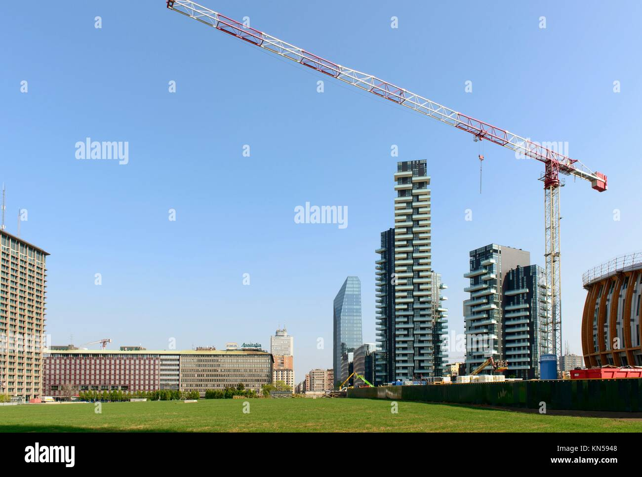 MILAN, ITALY - APRIL 11: view of the building site cranes and of tall buildings at business hub prospecting on the - Stock Image