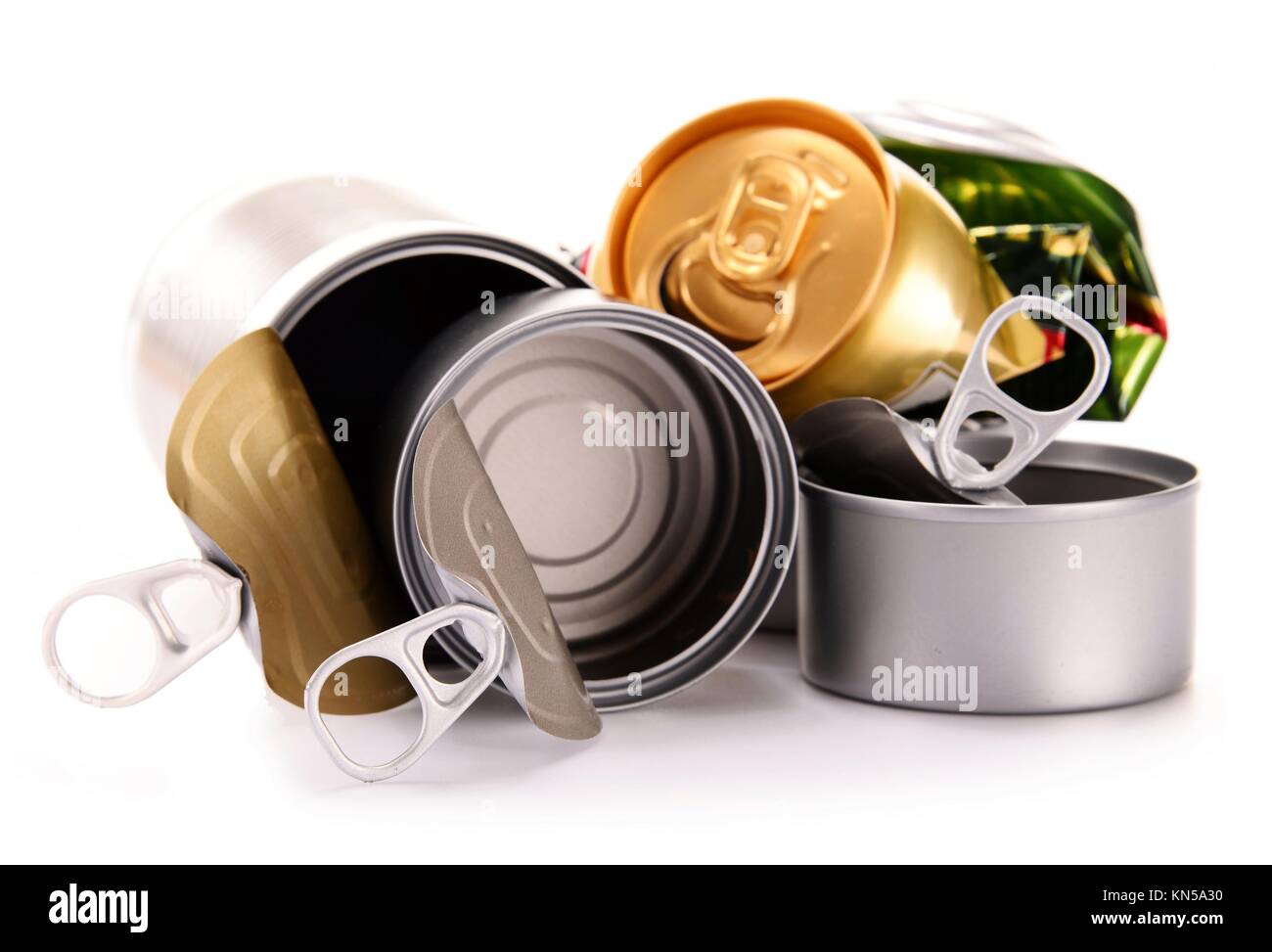 Recyclable garbage consisting of metal cans isolated on white background. - Stock Image
