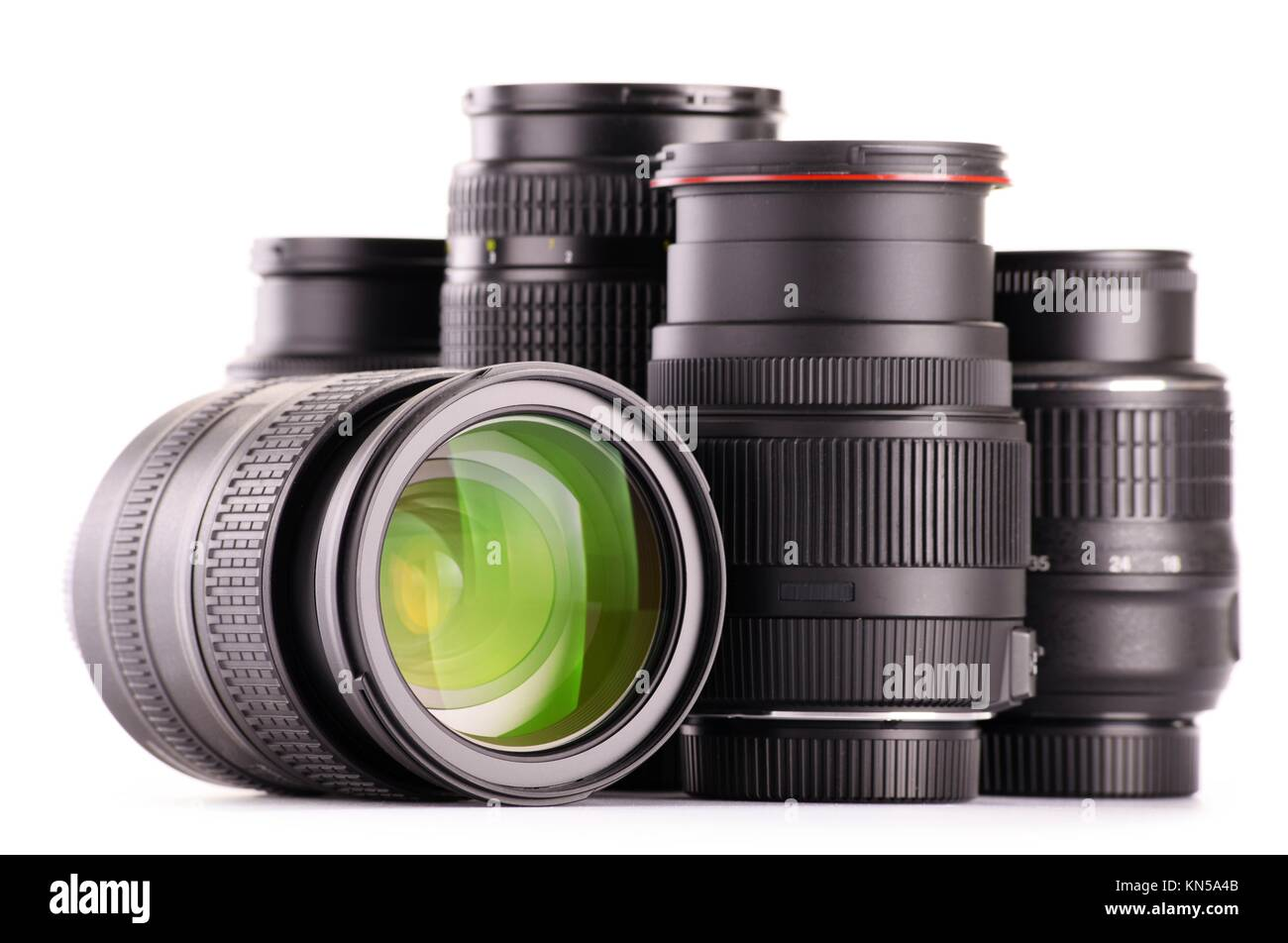 Composition with photo zoom lenses isolated on white background. - Stock Image