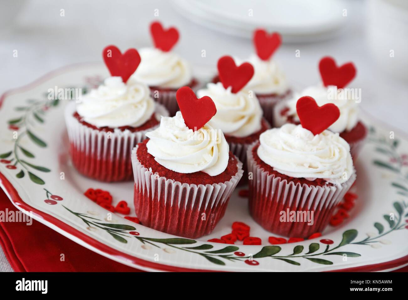 Red Velvet Cupcakes Decorated For Christmas With Red Hearts Stock Photo Alamy
