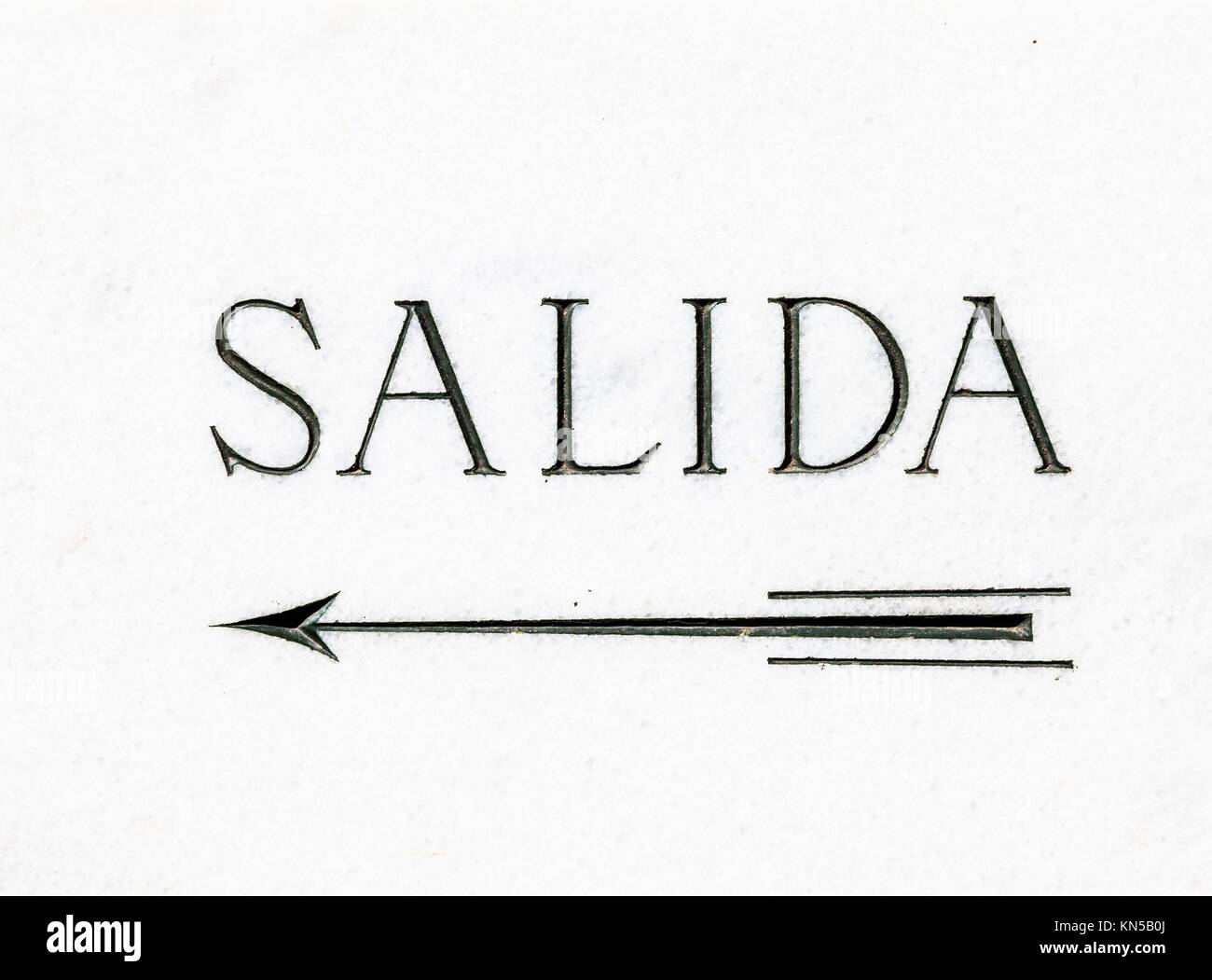 Simple marble cartel with the word Salida (Exit in Spanish). - Stock Image