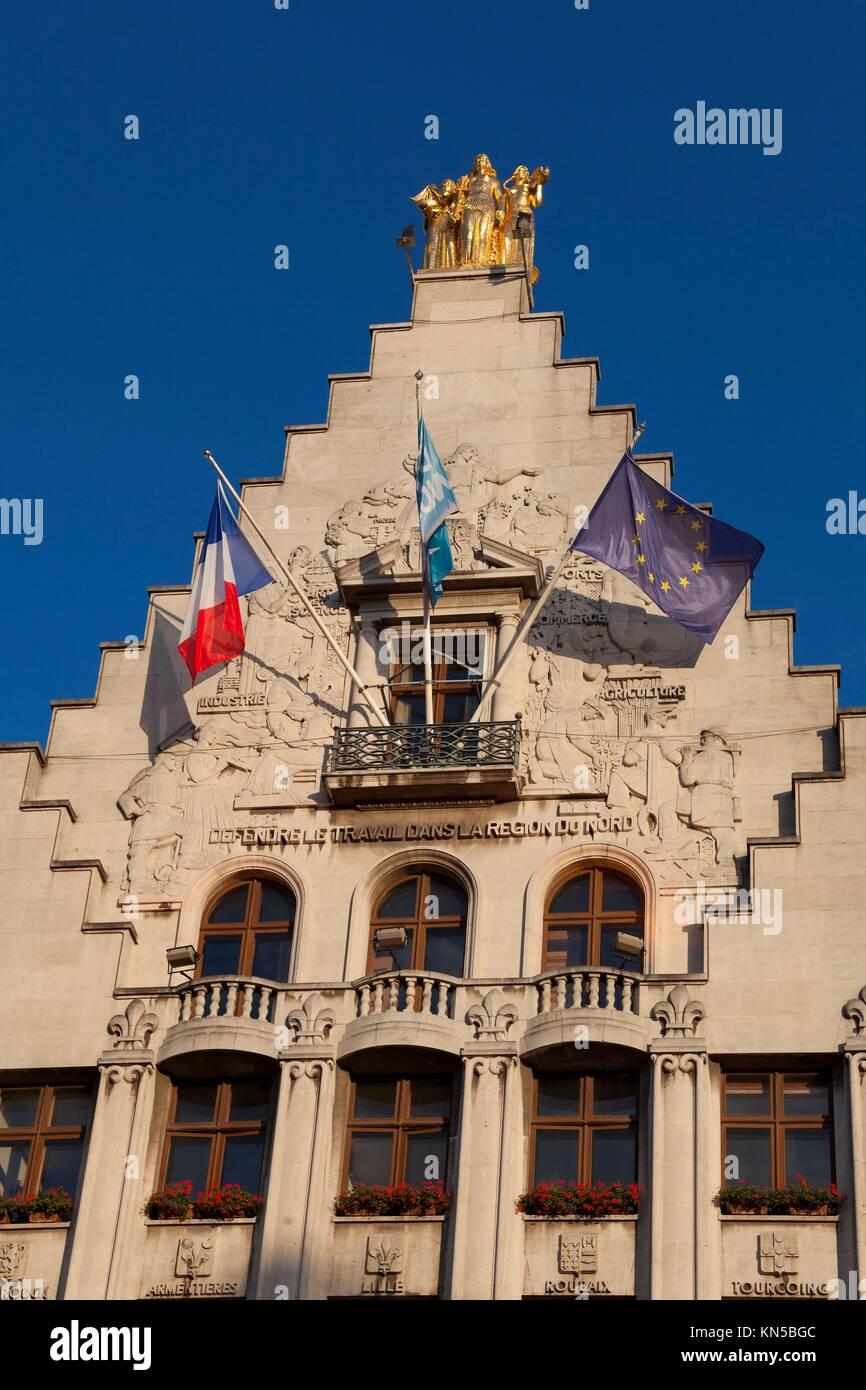 Architecture of Lille, Nord-Pas-de-Calais, France. - Stock Image