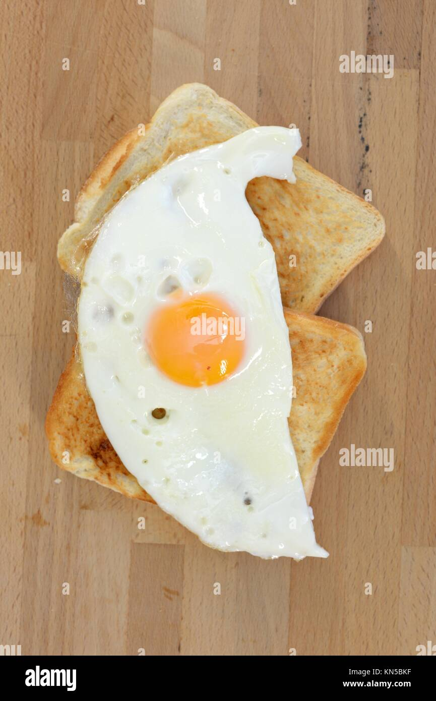 A close up shot of fried eggs. - Stock Image