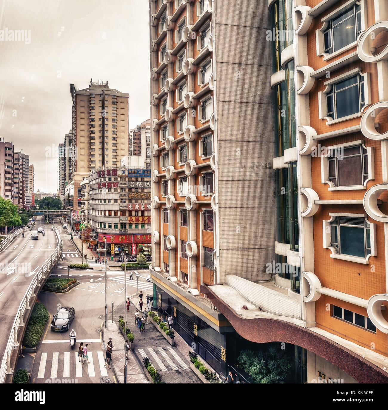 MACAU: Buildings of Macau on a cloudy day. Macau is one of the world´s richest cities, with the highest GDP - Stock Image