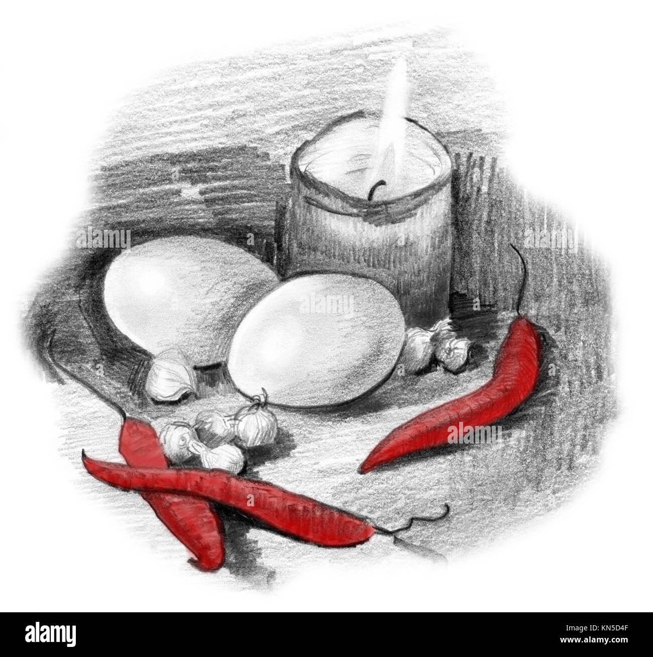 Eggs peppers crocus bulbs and candle light still life pencil sketch drawing in black and white with only the peppers in red color