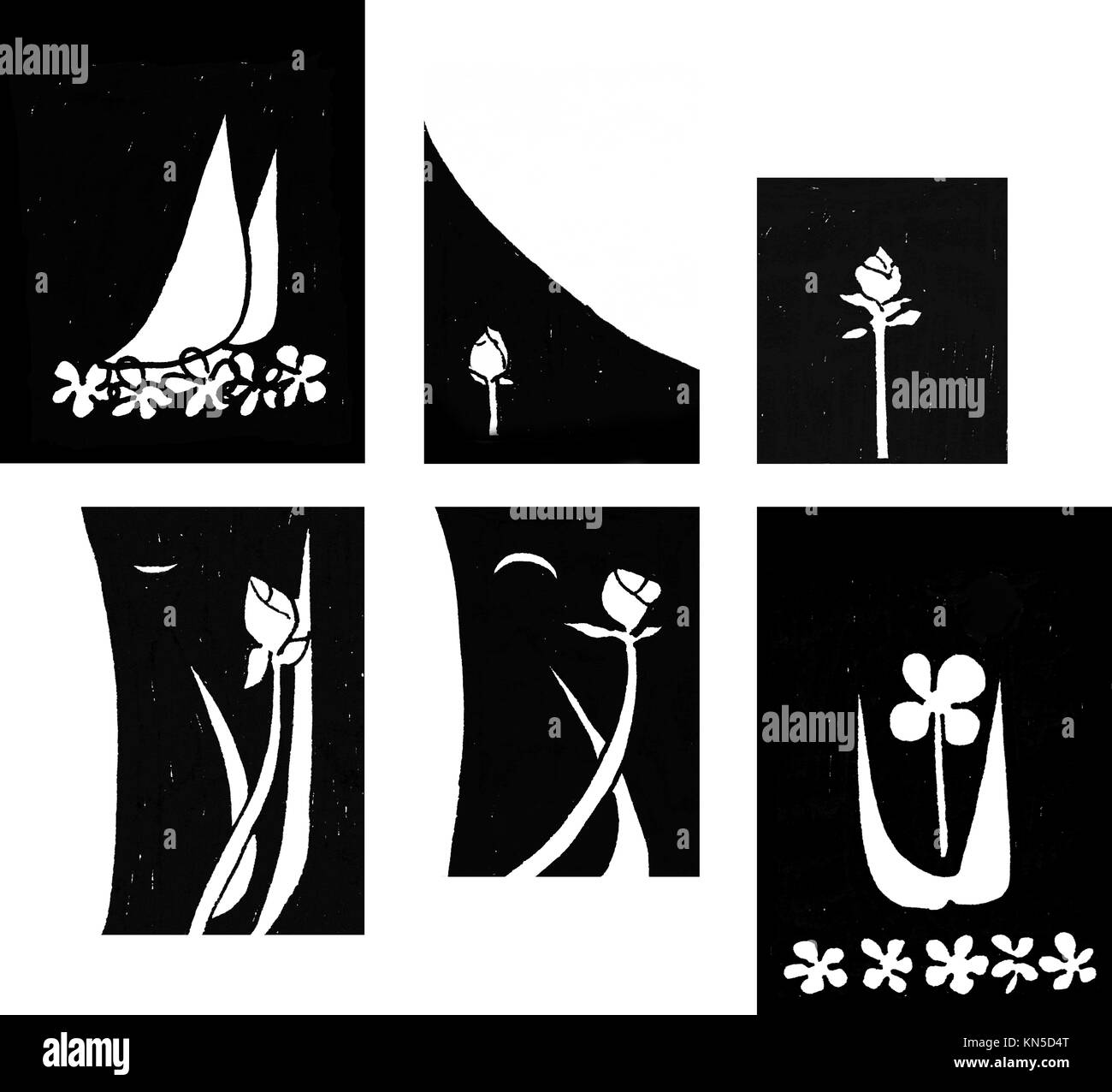 Bundle sails flowers, original abstract ink sketch in black and white. - Stock Image