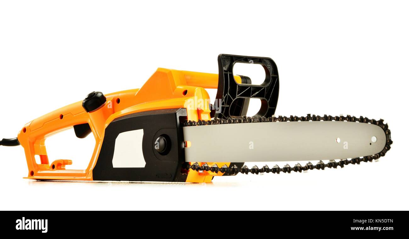 Electric chainsaw isolated on white background. Stock Photo