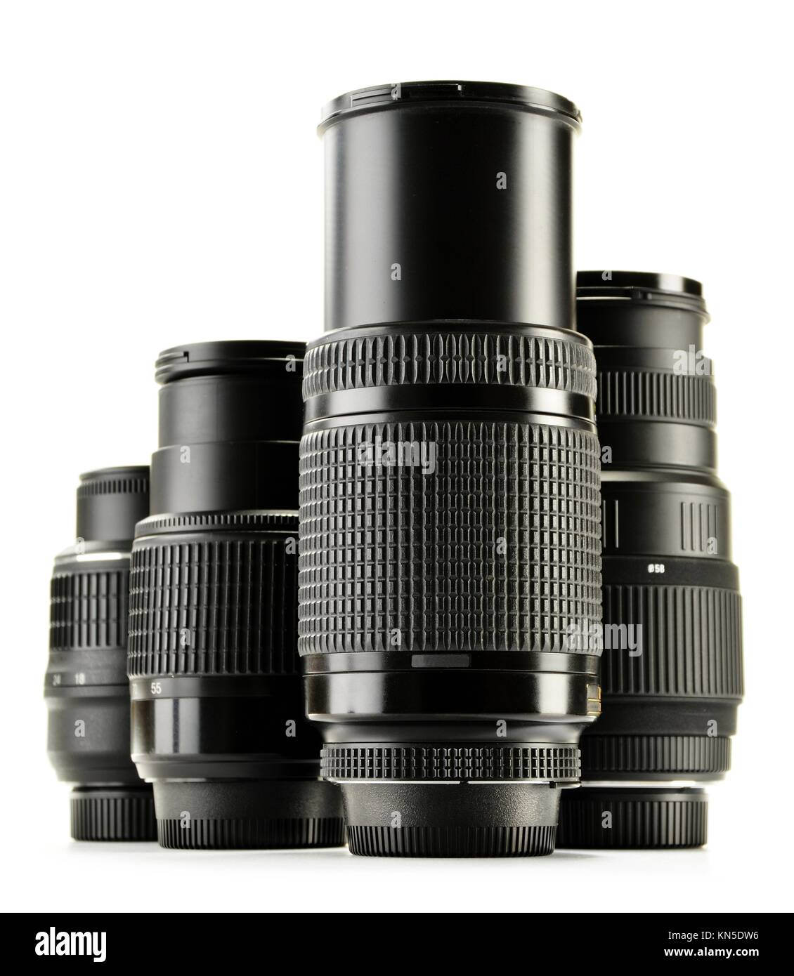 Photo zoom lenses isolated on white background. - Stock Image