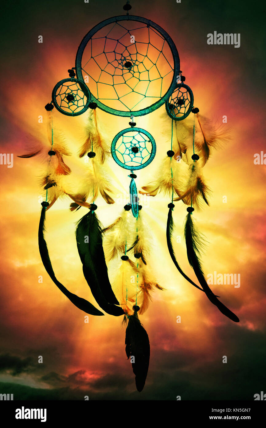 Native American dreamcatcher - Stock Image